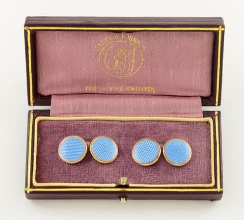 Vintage 9Ct Gold And Blue Guilloche Enamel Asprey Cufflinks In Leather Case